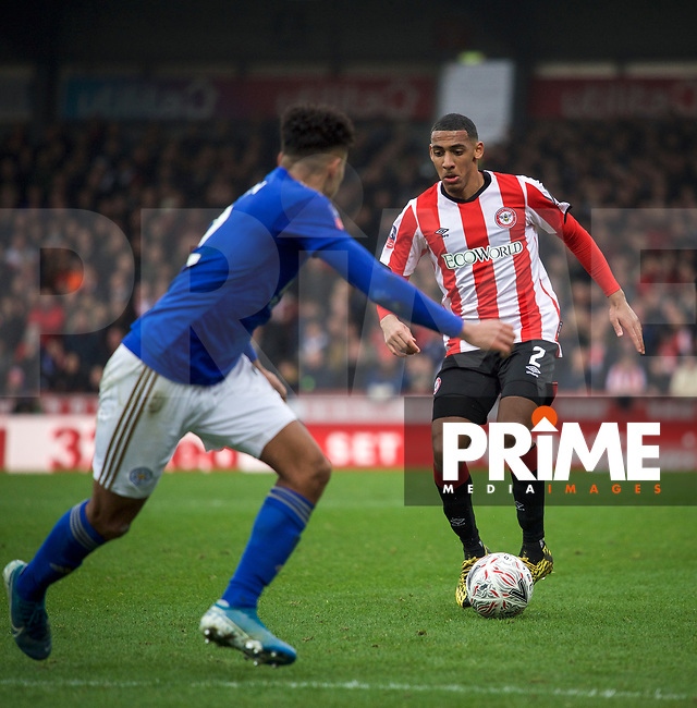 Dominic Thompson of Brentford during the FA Cup 4th round match between Brentford and Leicester City at Griffin Park, London, England on 25 January 2020. Photo by Andy Aleks.