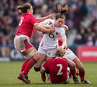 England Women's Emily Scarratt  in action during todays match<br /> <br /> Photographer Bob Bradford/CameraSport<br /> <br /> 2020 Women's Six Nations Championship - England v Wales - Saturday 7th March 2020 - The Stoop - London<br /> <br /> World Copyright © 2020 CameraSport. All rights reserved. 43 Linden Ave. Countesthorpe. Leicester. England. LE8 5PG - Tel: +44 (0) 116 277 4147 - admin@camerasport.com - www.camerasport.com