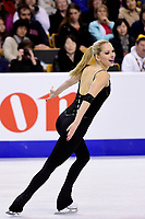 Friday, April 1, 2016: Alexa Scimeca (USA) competes in the Pairs Short Program at the International Skating Union World Championship held at TD Garden, in Boston, Massachusetts. Sui and Han placed first in the short program. Eric Canha/CSM