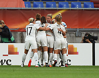20170721 - TILBURG , NETHERLANDS : German players celebrating their goal   pictured during the female soccer game between Germany and Italy  , the second game in group B at the Women's Euro 2017 , European Championship in The Netherlands 2017 , Friday 21 th June 2017 at Stadion Koning Willem II  in Tilburg , The Netherlands PHOTO SPORTPIX.BE | DIRK VUYLSTEKE