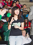 Monica Tu, Jeopardy College Champion, gets acknowledged during the game between the Louisiana Lafayette Ragin' Cajuns and the University of North Texas Mean Green at the North Texas Coliseum,the Super Pit, in Denton, Texas. UNT defeats Louisiana Lafayette 78 to 40....