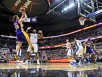 The Lakers' Pau Gasol shoots a baseline jumper. Los Angeles defeated Washington 103-89 at the Verizon Center in Washington, DC on Tuesday, December 14, 2010. Alan P. Santos/DC Sports Box