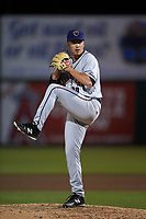 Lancaster JetHawks relief pitcher Matt Dennis (29) delivers a pitch during a California League game against the Inland Empire 66ers at San Manuel Stadium on May 18, 2018 in San Bernardino, California. Lancaster defeated Inland Empire 5-3. (Zachary Lucy/Four Seam Images)