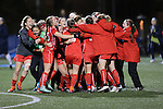 SALEM, VA - DECEMBER 3: Washington St. Louis celebrates after winning theDivision III Women's Soccer Championship held at Kerr Stadium on December 3, 2016 in Salem, Virginia. Washington St Louis defeated Messiah 5-4 in PKs for the national title. (Photo by Kelsey Grant/NCAA Photos)