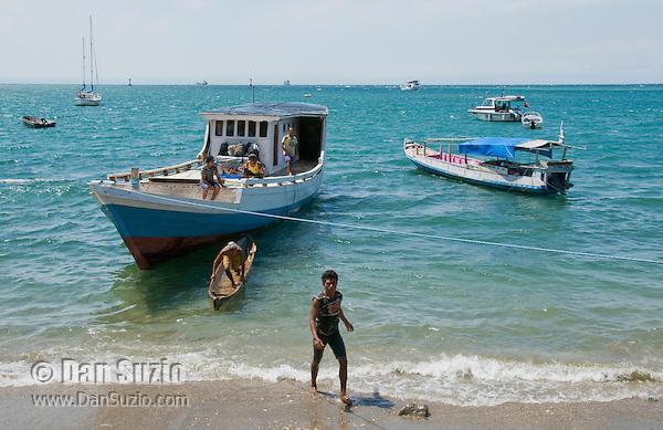 Boats in the harbor at Dili, Timor-Leste (East Timor)