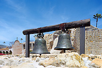Mission San Juan Capistrano, San Juan Capistrano, California, USA - the Original Mission Bells hanging in front of the Great Stone Church - Historic Landmark founded 1776
