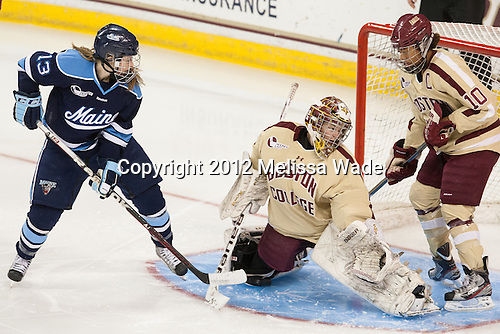 Tori Pasquariello (Maine - 13), Corinne Boyles (BC - 29), Blake Bolden (BC - 10) - The Boston College Eagles defeated the visiting University of Maine Black Bears 10-0 on Saturday, December 1, 2012, at Kelley Rink in Conte Forum in Chestnut Hill, Massachusetts.
