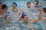 LOS ANGELES, CA - DECEMBER 03:  Austin Rone (20) and Quinten Osborne (2) of the University of California Los Angeles celebrate after the Division I Men's Water Polo Championship held at the Uytengsu Aquatics Center on the University of Southern California campus on December 3, 2017 in Los Angeles, California. UCLA defeated USC 5-7 to win the National Championship. (Photo by Justin Tafoya/NCAA Photos via Getty Images)
