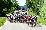 The peloton 50&quot; behind the breakaway during Stage 5 of the Criterium du Dauphine 2017, running 175.5km from La Tour-de Salvagny to Macon, France. 8th June 2017. <br /> Picture: ASO/A.Broadway | Cyclefile<br /> <br /> <br /> All photos usage must carry mandatory copyright credit (&copy; Cyclefile | ASO/A.Broadway)