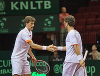14-sept.-2013,Netherlands, Groningen,  Martini Plaza, Tennis, DavisCup Netherlands-Austria, Doubles,   Robin Haase(L) and Jean-Julien Rojer (NED)<br /> Photo: Henk Koster
