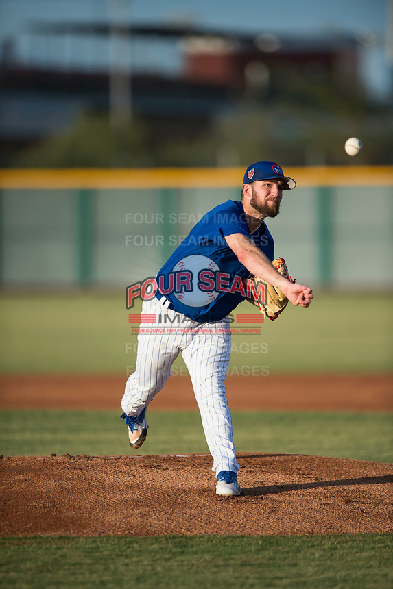 AZL Cubs 1 starting pitcher Corey Black (43) delivers a pitch during a rehab assignment in an Arizona League game against the AZL Padres 1 at Sloan Park on July 5, 2018 in Mesa, Arizona. The AZL Cubs 1 defeated the AZL Padres 1 3-1. (Zachary Lucy/Four Seam Images)