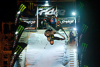Sam Fevret from France performs his trick during the freestyle skiing competition held on the 35 meters high artificial ski jumping ramp on the Monster Energy Fridge Festival in central Budapest, Hungary on November 12, 2011. ATTILA VOLGYI