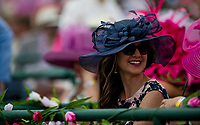 LOUISVILLE, KY - MAY 04: A woman wears a fancy hat on Kentucky Oaks Day at Churchill Downs on May 4, 2018 in Louisville, Kentucky. (Photo by Eric Patterson/Eclipse Sportswire/Getty Images)