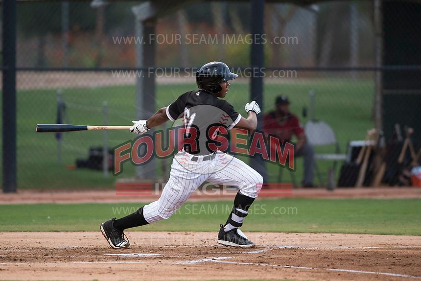 AZL White Sox third baseman Bryce Bush (61) follows through on his swing during an Arizona League game against the AZL Diamondbacks at Camelback Ranch on July 12, 2018 in Glendale, Arizona. The AZL Diamondbacks defeated the AZL White Sox 5-1. (Zachary Lucy/Four Seam Images)