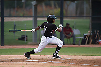 AZL White Sox third baseman Bryce Bush (61) follows through on his swing during an Arizona League game against the AZL Diamondbacks at Camelback Ranch on July 12, 2018 in Glendale, Arizona. The AZL Diamondbacks defeated the AZL White Sox 5-1. (Zachary Lucy/Four Seam Images)
