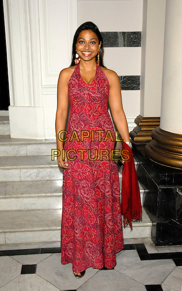 AYESHA DARKER.The Grazia O2 Awards, Sunbeam Studio, London, England. .July 19th, 2007.full length red floral print halterneck dress .CAP/FIN.©Steve Finn/Capital Pictures