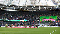 A minute's silence for remembrance<br /> <br /> Photographer Rob Newell/CameraSport<br /> <br /> The Premier League - West Ham United v Burnley - Saturday 3rd November 2018 - London Stadium - London<br /> <br /> World Copyright &copy; 2018 CameraSport. All rights reserved. 43 Linden Ave. Countesthorpe. Leicester. England. LE8 5PG - Tel: +44 (0) 116 277 4147 - admin@camerasport.com - www.camerasport.com