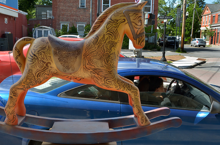 """A view of """"Tribal Tatoo Horse"""" created by artist, Grey Ivor Morris, one of the """"Rockin' Around Saugerties"""" theme Statues on display throughout the Village of Saugerties, NY, on Friday, May 26, 2017. Photo by Jim Peppler. Copyright/Jim Peppler-2017."""