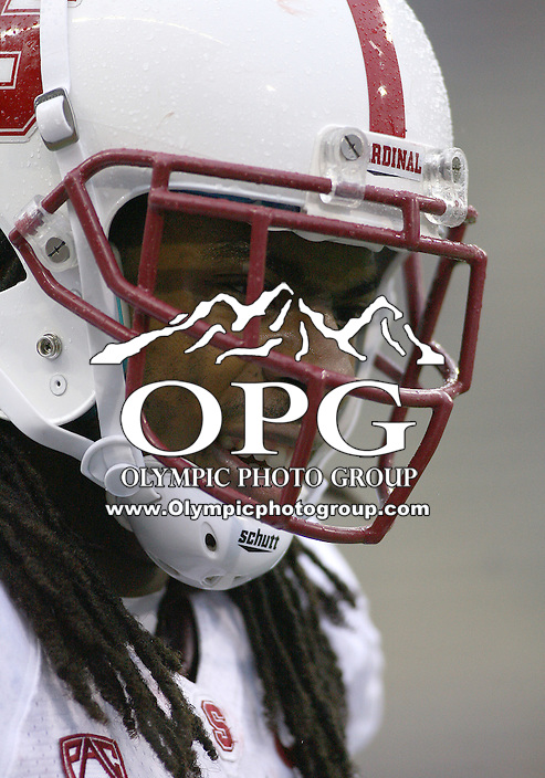Oct 30, 20010:  Stanford's #9 Richard Sherman warms up before the game against Washington.  Stanford defeated Washington 41-0 at Husky Stadium in Seattle, Washington...