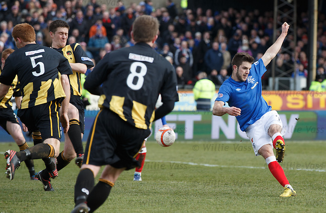 Andy Little scores the second goal for Rangers