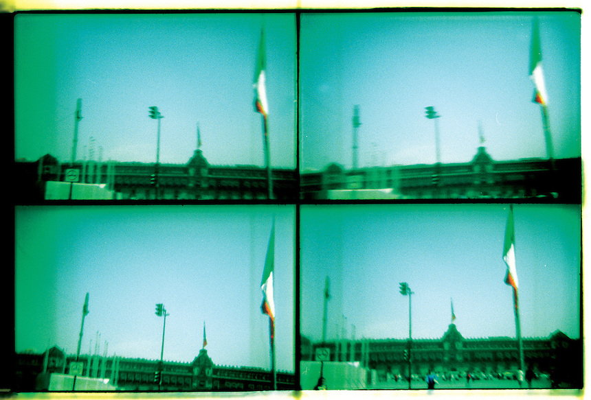 Zocalo, and flag in Mexico city's center taken with a plastic camera. Mexico City 12-11-02