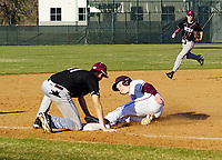 Westside Eagle Observer/RANDY MOLL<br /> Gentry's Colby Young is caught trying to steal third base during play against Lincoln in Gentry on March 10.