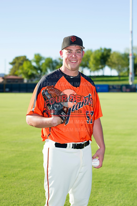 AZL Giants 2017 Draft Pick John Gavin (57) poses for a photo prior to a game against the AZL Rangers on August 22 at Scottsdale Stadium in Scottsdale, Arizona. AZL Rangers defeated the AZL Giants 7-5. (Zachary Lucy/Four Seam Images via AP Images)