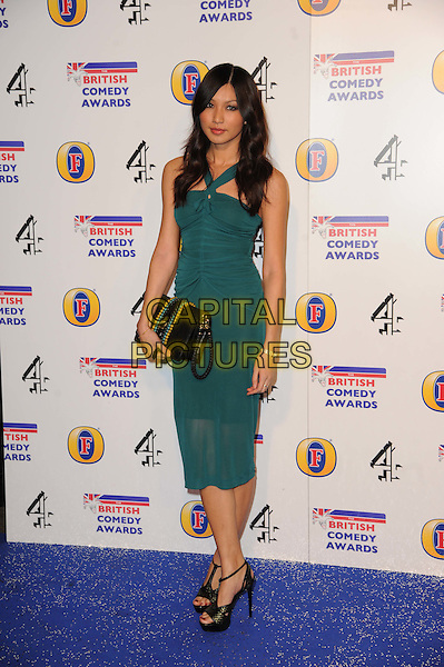 Gemma Chan.arriving at the British Comedy Awards 2011 at the Fountain Studio's, Wembley, London, UK, 16th December 2011..arrivals full length green dress sheer black clutch bag sandals teal turquoise .CAP/CAS.©Bob Cass/Capital Pictures.