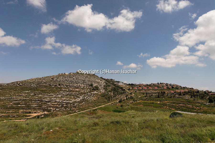 Samaria, archeological remnants in Tel Shiloh, Shilo settlement in the background