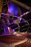 Designed by architect Frank Gehry, Jay Pritzker Pavilion, also known as Pritzker Pavilion or Pritzker Music Pavilion, lit up at night, Chicago, Illinois, USA
