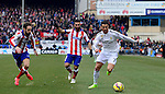 Real Madrid's Portuguese forward Cristiano Ronaldo and Atletico Madrid's Turkish midfielder Arda Turan during the Spanish league football match Club Atletico de Madrid vs Real Madrid CF at the Vicente Calderon stadium in Madrid on February 7, 2015.                 PHOTOCALL3000/ DP