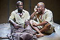 London, UK. 12.11.2013. THE ISLAND, directed by Alex Brown, winner of the JMK Award 2013, opens at the Young Vic. Created by Athol Fugard, John Kani and Winston Ntshona during the apartheid era, The Island is inspired by true stories from South Africa&rsquo;s notorious Robben Island, the prison Nelson Mandela was held in for 27 years.<br /> The play is a two-hander, starring Jimmy Akingbola as Winston and Daniel Poyser as John. Photograph &copy; Jane Hobson.