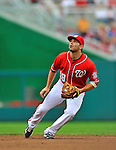 25 September 2011: Washington Nationals infielder Danny Espinosa in action against the Atlanta Braves at Nationals Park in Washington, DC. The Nationals shut out the Braves 3-0 to take the rubber match third game of their 3-game series - the Nationals' final home game for the 2011 season. Mandatory Credit: Ed Wolfstein Photo