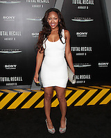 HOLLYWOOD, CA - AUGUST 01: Meagan Good at the premiere of Columbia Pictures' 'Total Recall' held at Grauman's Chinese Theatre on August 1, 2012 in Hollywood, California Credit: mpi21/MediaPunch Inc. /NortePhoto.com<br />