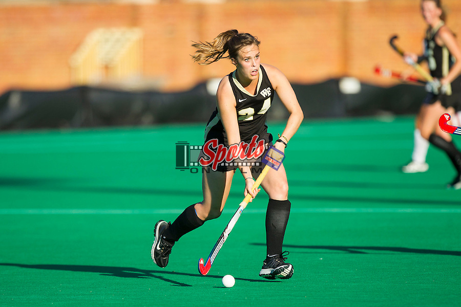 Holly Brown (24) of the Wake Forest Demon Deacons controls the ball during second half action against the Liberty Flames at Kentner Stadium on September 13, 2013 in Winston-Salem, North Carolina.  The Demon Deacons defeated the Flames 3-2.  (Brian Westerholt/Sports On Film)