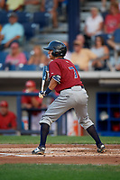 Mahoning Valley Scrappers shortstop Tyler Freeman (7) squares around to bunt during a game against the Williamsport Crosscutters on August 28, 2018 at BB&T Ballpark in Williamsport, Pennsylvania.  Williamsport defeated Mahoning Valley 8-0.  (Mike Janes/Four Seam Images)