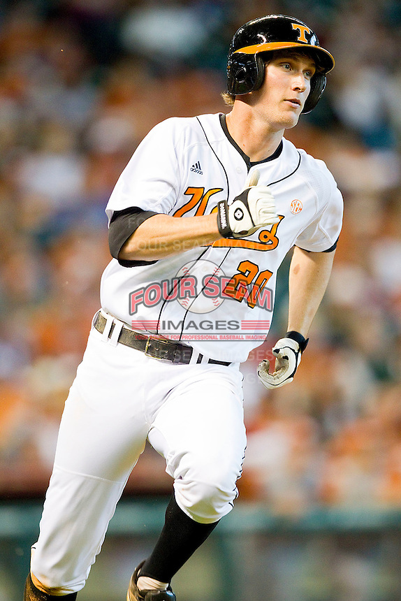 Drew Steckenrider #20 of the Tennessee Volunteers hustles down the first base line against the Texas Longhorns at Minute Maid Park on March 3, 2012 in Houston, Texas.  The Volunteers defeated the Longhorns 5-4.  (Brian Westerholt/Four Seam Images)
