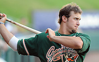 April 17, 2008: Outfielder Bryan Petersen (23) of the Greensboro Grasshoppers, Class A affiliate of the Florida Marlins, in a game against the Greenville Drive at Fluor Field at the West End in Greenville, S.C. Photo by:  Tom Priddy/Four Seam Images