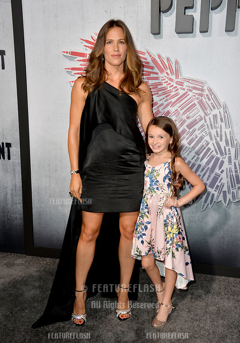 "LOS ANGELES, CA. August 28, 2018: Jennifer Garner & Cailey Fleming at the world premiere of ""Peppermint"" at the Regal LA Live."