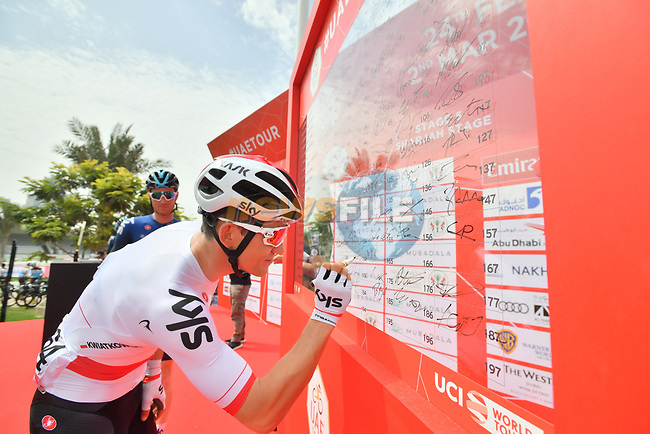 Polish National Champion Michal Kwiatkowski (POL) Team Sky sign on before the start of Stage 5 of the 2019 UAE Tour, running 181km form Sharjah to Khor Fakkan, Dubai, United Arab Emirates. 28th February 2019.<br /> Picture: LaPresse/Massimo Paolone | Cyclefile<br /> <br /> <br /> All photos usage must carry mandatory copyright credit (© Cyclefile | LaPresse/Massimo Paolone)
