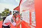 Polish National Champion Michal Kwiatkowski (POL) Team Sky sign on before the start of Stage 5 of the 2019 UAE Tour, running 181km form Sharjah to Khor Fakkan, Dubai, United Arab Emirates. 28th February 2019.<br /> Picture: LaPresse/Massimo Paolone | Cyclefile<br /> <br /> <br /> All photos usage must carry mandatory copyright credit (&copy; Cyclefile | LaPresse/Massimo Paolone)