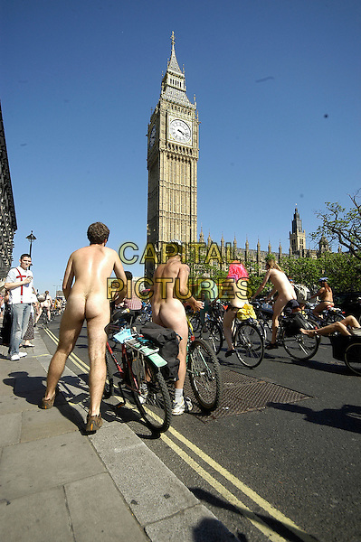 PARTICIPANTS.People Taking part in the 3rd World Naked Bike Ride (& Skate) Protest Against Oil Dependency, starting and finishing at Wellington Arch, Hyde Park, London, 10th June 2006..full length nude nudist  bum cylist biker bike flesh skin big ben .Ref: IA.www.capitalpictures.com.sales@capitalpictures.com.©Ian Allis/Capital Pictures