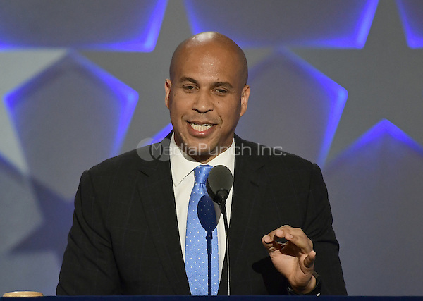 United States Senator Cory Booker (Democrat of New Jersey) makes remarks at the 2016 Democratic National Convention at the Wells Fargo Center in Philadelphia, Pennsylvania on Monday, July 25, 2016.<br /> Credit: Ron Sachs / CNP/MediaPunch<br /> (RESTRICTION: NO New York or New Jersey Newspapers or newspapers within a 75 mile radius of New York City)
