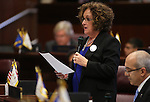 Nevada Sen. Debbie Smith, D-Sparks, speaks on the Senate floor at the Legislative Building in Carson City, Nev., on Monday, Feb. 18, 2013. Smith introduced members of the Nevada Sesquicentennial planning committee..Photo by Cathleen Allison