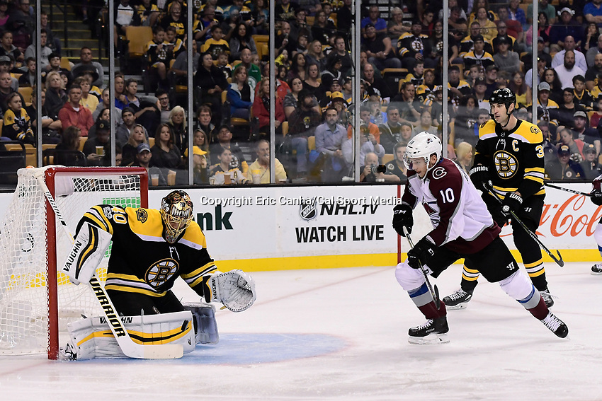 October 9, 2017: Boston Bruins goalie Tuukka Rask (40) makes a save during the NHL game between the Colorado Avalanche and the Boston Bruins held at TD Garden, in Boston, Mass. Colorado defeats Boston 4-0. Eric Canha/CSM