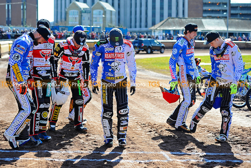 The riders test the track at the start area  during Poole Pirates vs Swindon Robins, Elite League Speedway at The Stadium on 25th March 2016