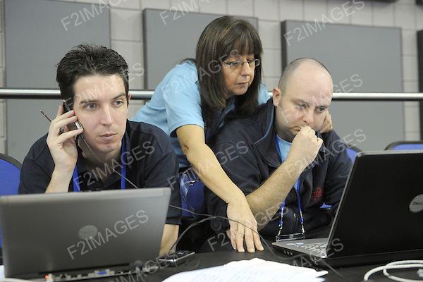 World Artistic Gymnastics Championships 2009. O2 Arena London.Behind the scenes at the competition with the volunteers and officials. Photos Alan Edwards