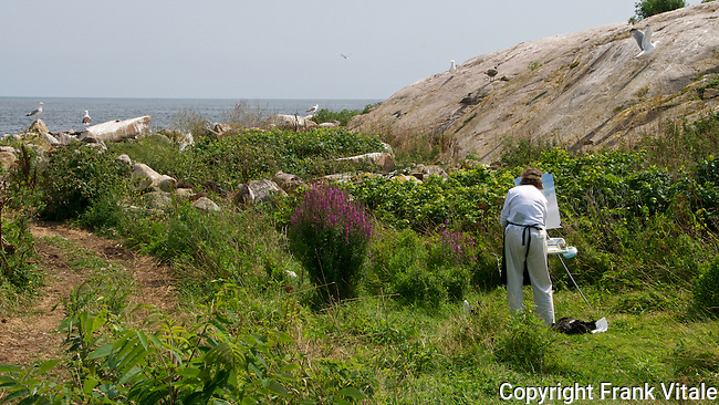 Artists at Work on Thacher Island, Rockport, MA during Art & Photo Day, August 1, 2012.
