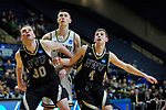 SALEM, VA - MARCH 17: Nebraska Wesleyan Prairie Wolves forward Cooper Cook (30) and Nebraska Wesleyan Prairie Wolves guard Nate Bahe (4) block out Wisconsin-Oshkosh Titans forward Adam Fravert (15) during the Division III Men's Basketball Championship held at the Salem Civic Center on March 17, 2018 in Salem, Virginia. Nebraska Wesleyen defeated Wisconsin-Oshkosh 78-72 for the national title. (Photo by Andres Alonso/NCAA Photos/NCAA Photos via Getty Images)