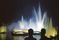 1964 World's Fair, Flushing Meadows, New York. The Fair held a dazzling fireworks show with fountains and light each night. Photo by John G. Zimmerman. .
